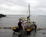 Launching the sailboat